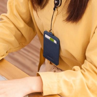 CHENSON真皮 雙面2卡悠遊卡夾/車票夾/票卡夾 藍(W19051-9)