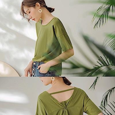 高含棉純色後簍空扭結短袖上衣-OB嚴選