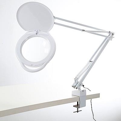 【Hamlet】1.8x/3D 大鏡面雙色溫LED調光護眼檯燈放大鏡 桌夾式 E080