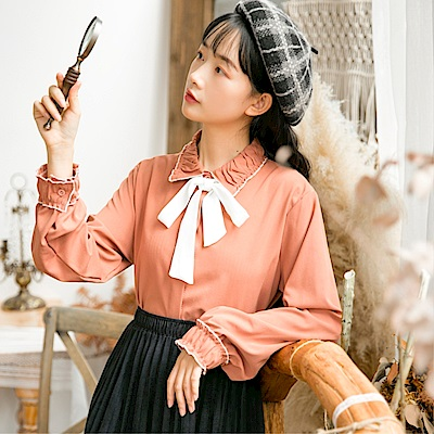 DABI 韓國風名媛文藝蝴蝶結系帶襯衣長袖上衣
