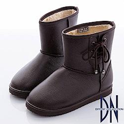 DN 愛上雨天 暖心內刷毛側蝴蝶結雨靴-棕