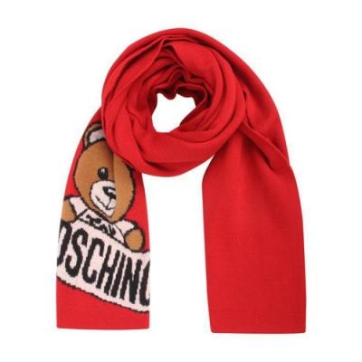 MOSCHINO 經典泰迪熊字母LOGO圖案混織羊毛圍巾/披肩 紅色