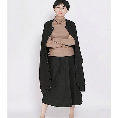 中長版圓領單排扣BF風寬鬆長袖外套-設計所在