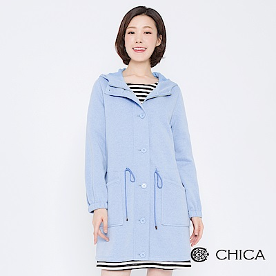 CHICA 溫柔氣息排釦縮腰抽繩連帽外套(2色)