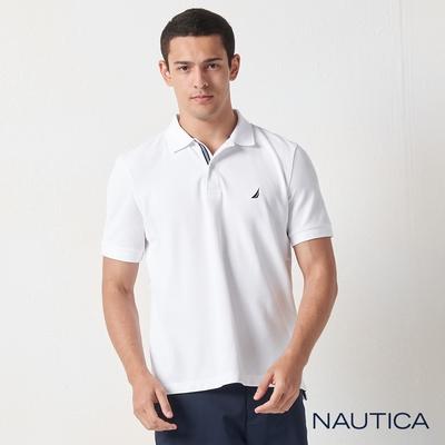 Nautica素色吸濕快乾短袖POLO衫-白