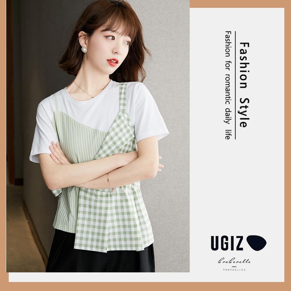 UGIZ-修身圓領條紋與格紋拼接造型上衣-白色(M-XL)