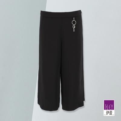 ILEY伊蕾 開衩設計七分寬褲(黑)