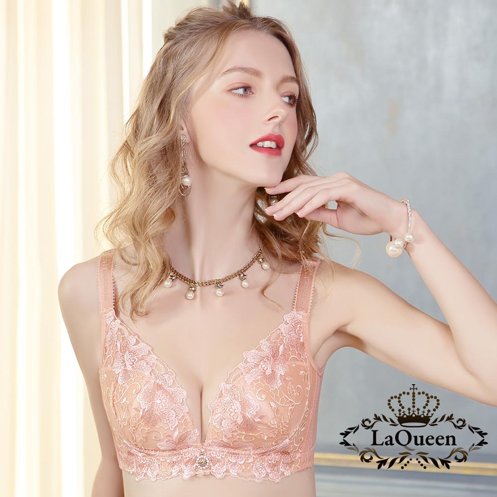 內衣 高貴優雅刺繡無鋼圈好運成套內衣-膚 La Queen