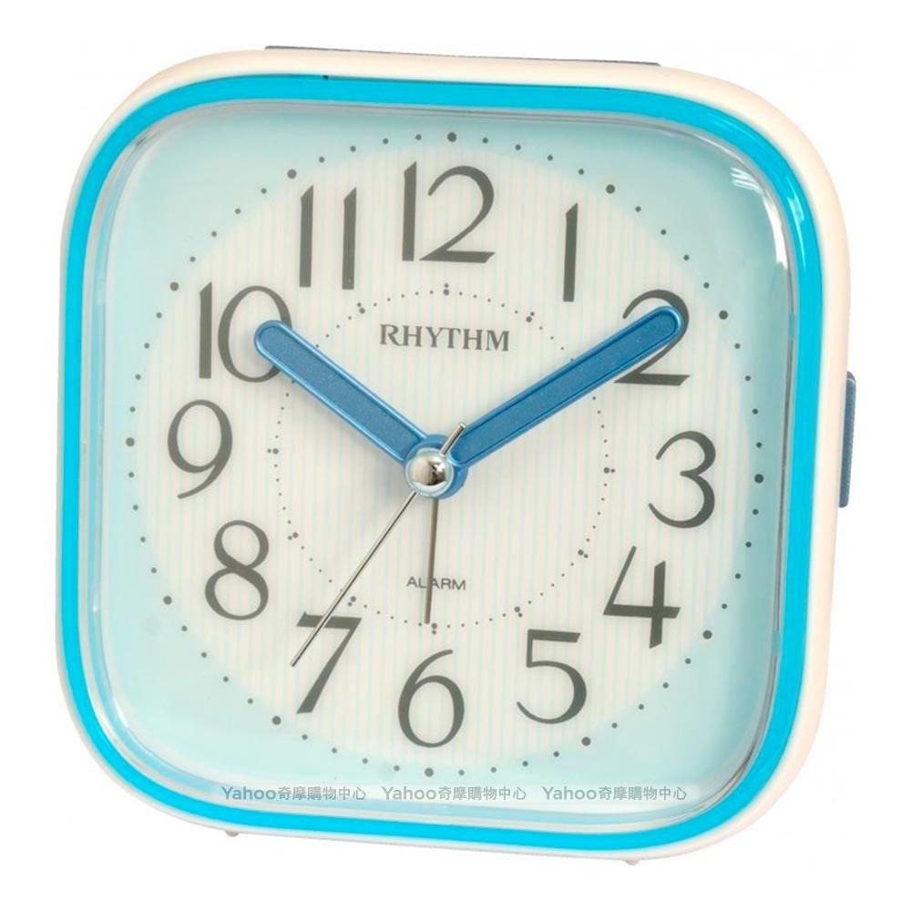 RHYTHM日本麗聲 時尚漸層色系設計貪睡夜光鬧鐘-天空藍/10cm