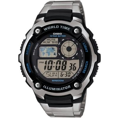 CASIO卡西歐 迷你地圖鐵帶電子錶(AE-2100WD-1A)