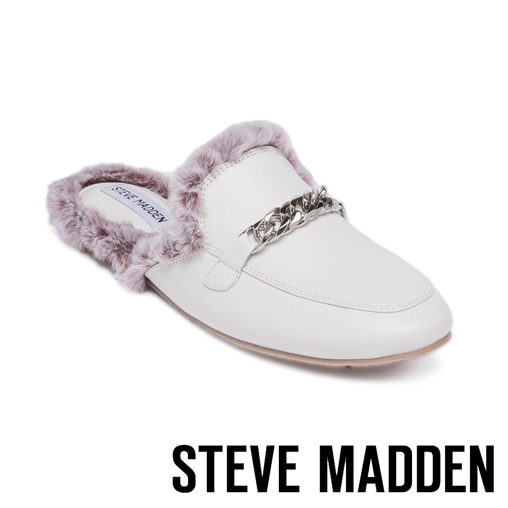 STEVE MADDEN-MYNX 絨毛馬銜扣真皮低跟穆勒鞋-白色