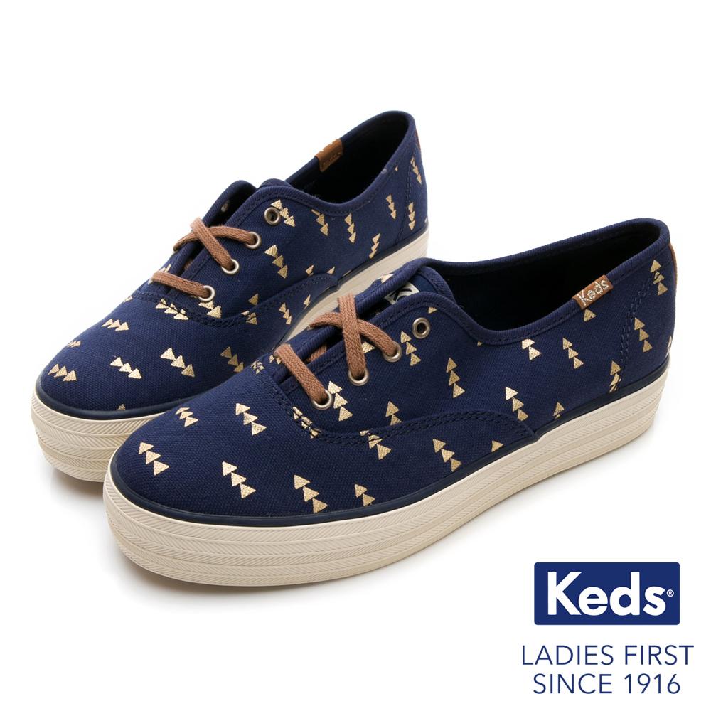 Keds TRIPLE 森林圖騰綁帶厚底休閒鞋-藍色