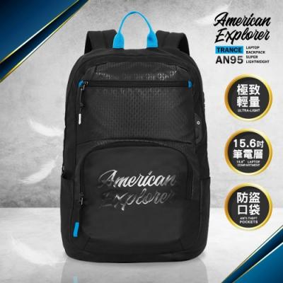 【American Explorer美國探險家】後背包 推薦 雙肩包 超輕量 旅行包 AN95 可插掛拉桿 大容量 (黑色)