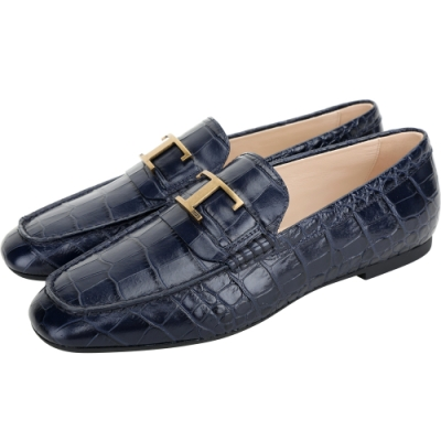 TOD'S Timeless 銅金T字鱷魚紋壓花牛皮樂褔鞋(深藍色)