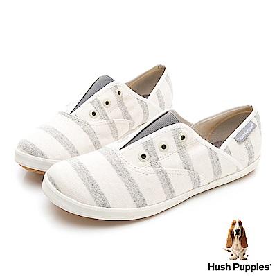 Hush Puppies 清爽條紋咖啡紗懶人帆布鞋-灰色