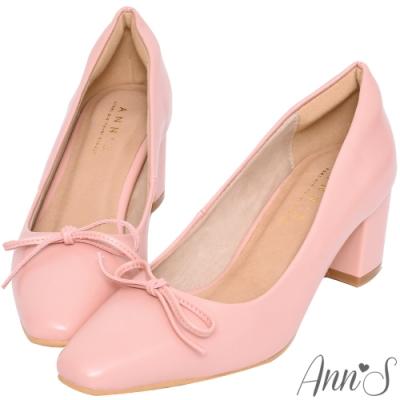 Ann'S法式優雅-油皮細緻蝴蝶結粗跟方頭跟鞋-粉