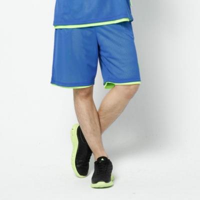 【V-TEAM】男款雙面穿吸排籃球褲-中藍