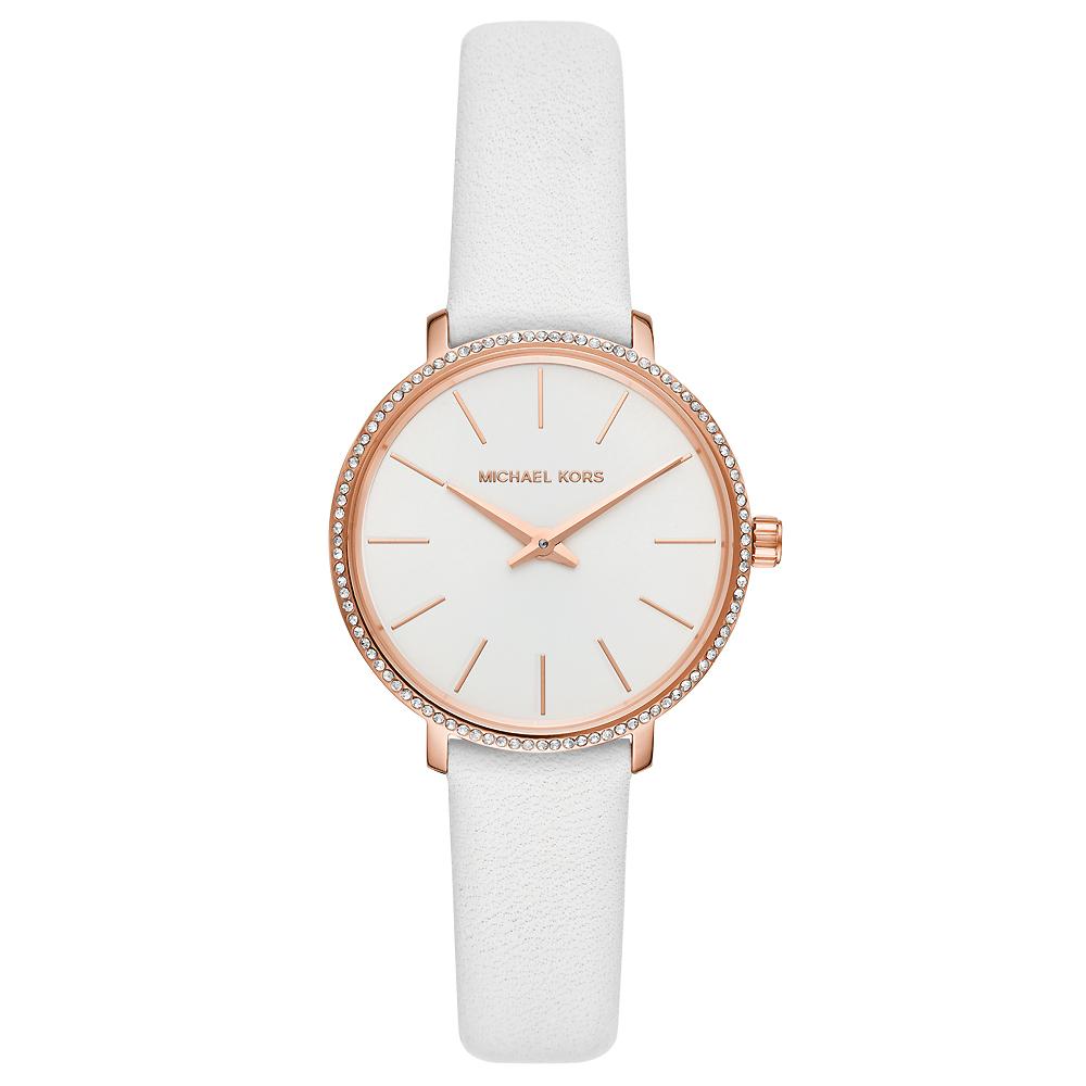 MICHAEL KORS 優雅晶鑽真皮手錶(MK2802)-白X玫瑰金框/32mm