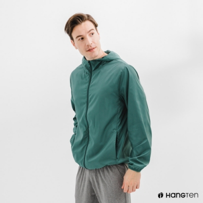 Hang Ten-中性款-恆溫多功能-防輕潑水自收防風外套-綠色