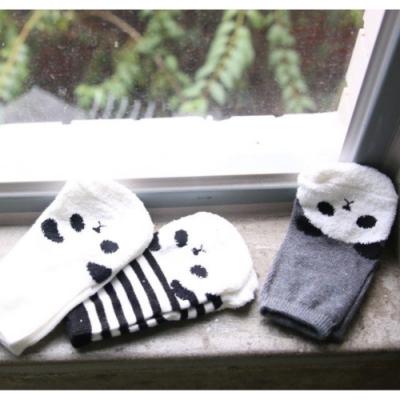 【彌之星Mini Dressing】兒童彈性襪三件組-迷糊Panda M號(韓國製)