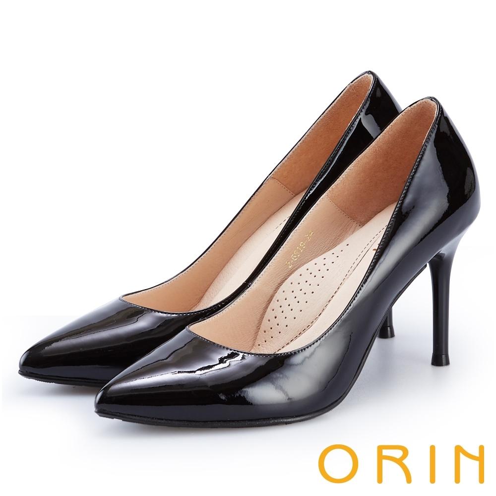 ORIN 簡約時尚名媛 嚴選真皮經典素面高跟鞋-鏡黑