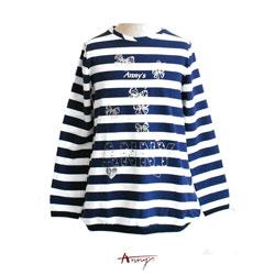 Annys甜美休閒條紋印花鬆緊長版上衣*3418藍