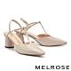 高跟鞋 MELROSE 簡約時髦壓紋T字繫帶尖頭高跟鞋-粉 product thumbnail 1