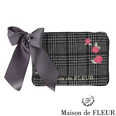 Maison de FLEUR經典千鳥格紋玫瑰刺繡小包包