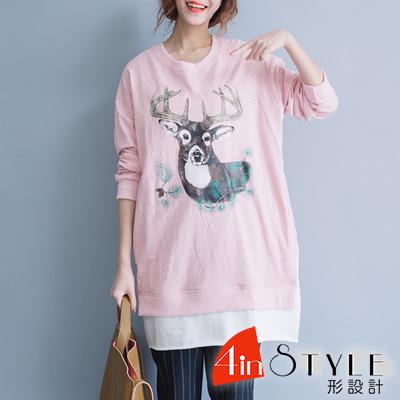 圓領麋鹿印花拼接長版T恤 (粉色)-4inSTYLE形設計