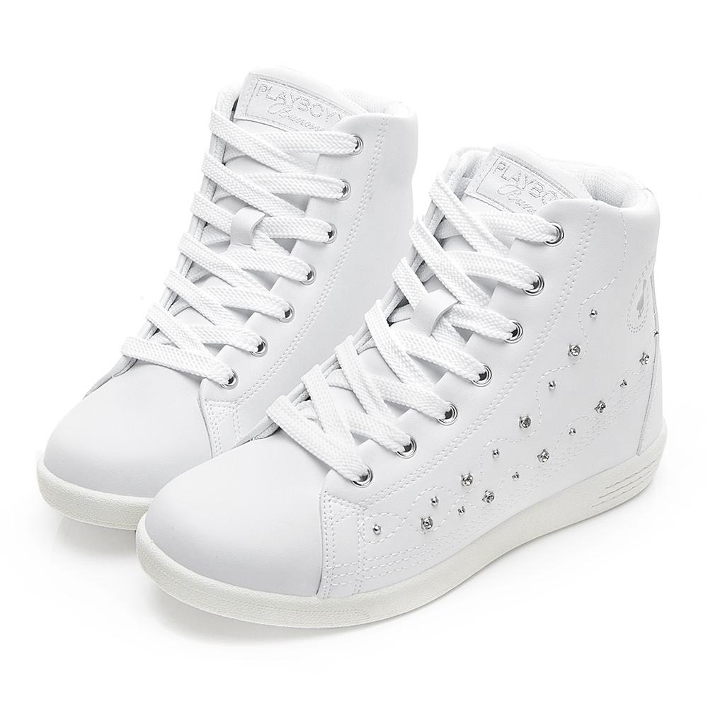 PLAYBOY 晶鑽高筒內增高休閒鞋-白-Y522211
