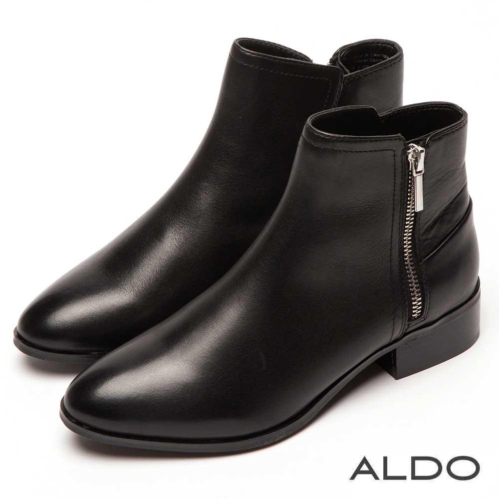 ALDO 原色真皮前高後低筒圍尖頭金屬拉鍊粗跟靴~尊爵黑色