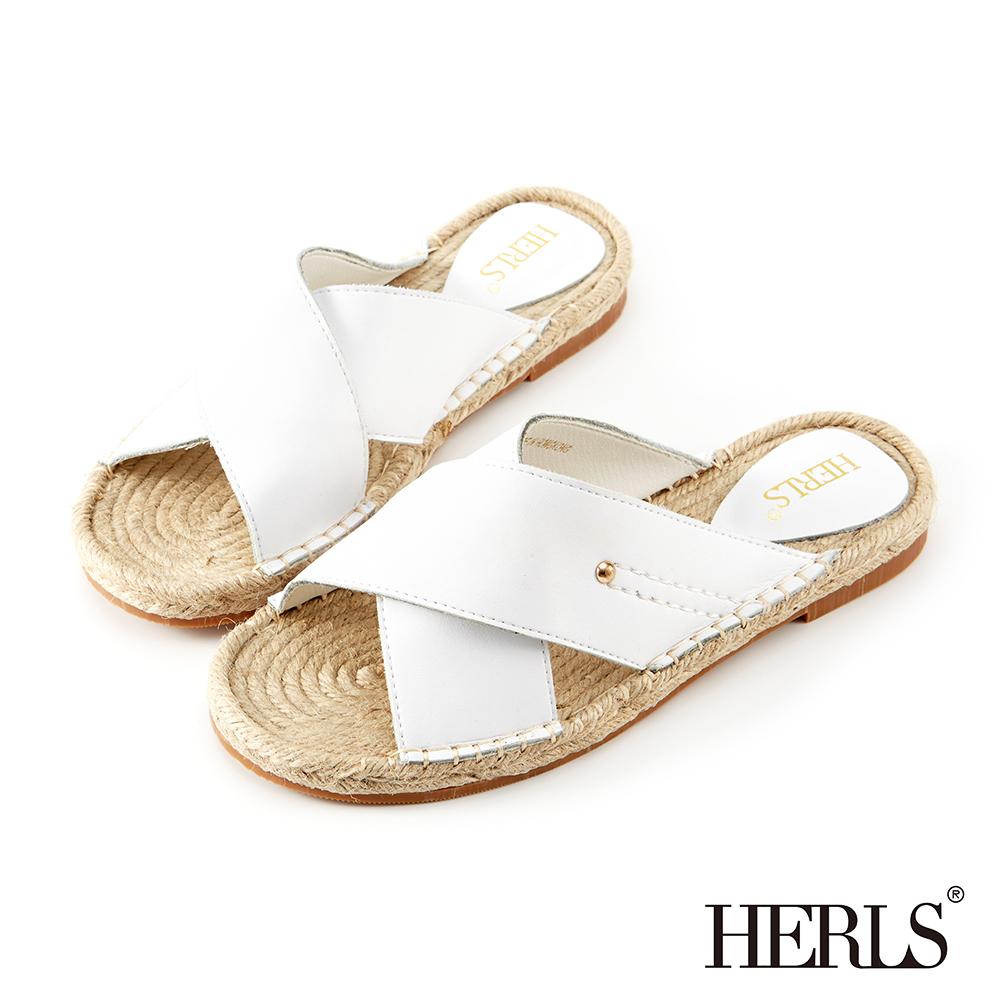 HERLS 夏日艷陽 交叉寬帶真皮麻底拖鞋-白色
