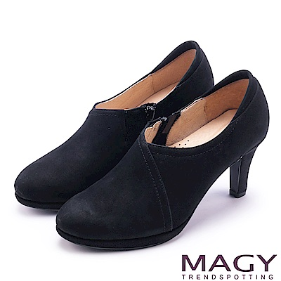 MAGY 紐約時尚步調 親膚防磨復真皮高跟鞋-絨黑