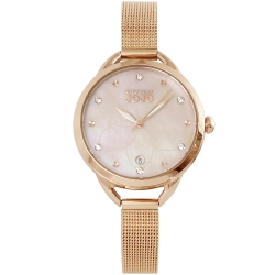 NATURALLY JOJO 閃耀晶鑽米蘭帶手錶-珍珠貝X玫瑰金/32mm