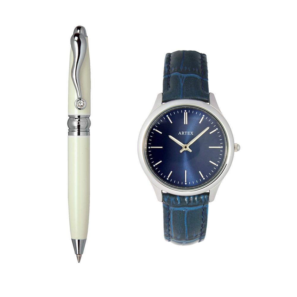 ARTEX 方晶隨行白管+ 5605真皮手錶-寶藍/銀33mm