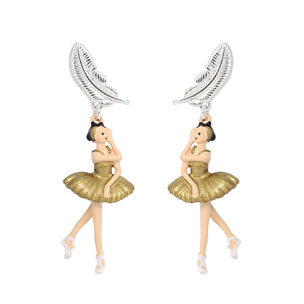 Les Nereides N2 優雅芭蕾舞女孩系列 柔霧金天鵝湖 銀色羽毛 耳環 耳針
