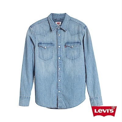 Levis 男款 牛仔襯衫 Barstow 經典V型雙口袋 休閒版型 淺藍水洗