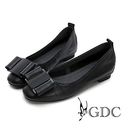 GDC-熱銷款真皮歐美風蝴蝶結素色平底鞋-黑色