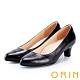ORIN 簡約時尚OL 質感牛皮百搭素面中跟鞋-黑色 product thumbnail 1
