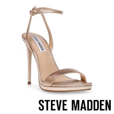 STEVE MADDEN-WORDLY 一字帶繞踝細跟高跟鞋-香檳金