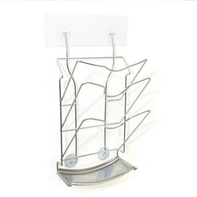 MIT不鏽鋼無痕掛勾三層瀝水鍋蓋架-1入