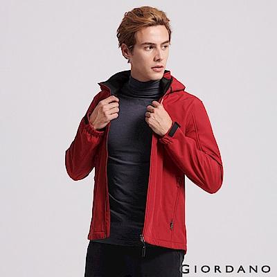 GIORDANO男裝可拆帽輕量磨毛Softshell立領防風外套-24 標誌紅/黑