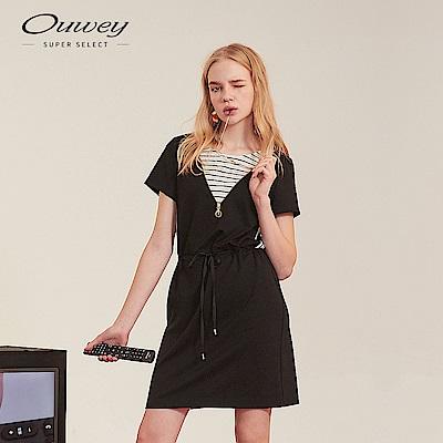 OUWEY歐薇 條紋拼接洋裝(黑)