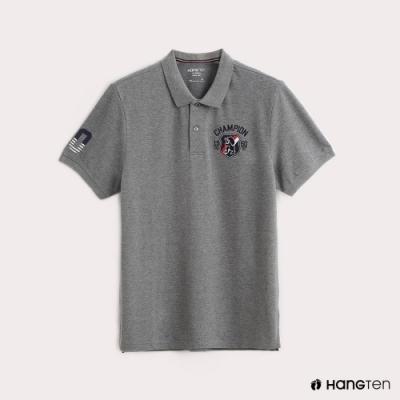 Hang Ten-男裝彈性圖標刺繡POLO衫-灰