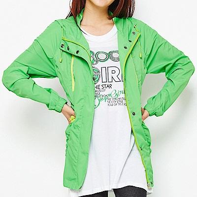 【TOP GIRL】抗UV連帽長版風衣外套-草綠