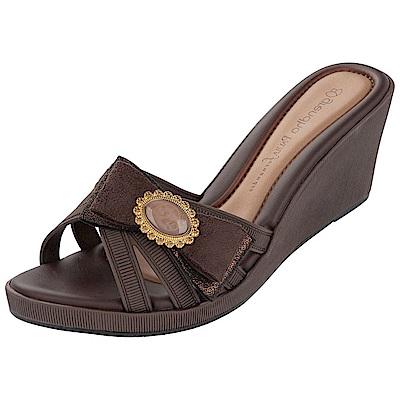GRENDHA 極致典雅釦飾楔型鞋-咖啡