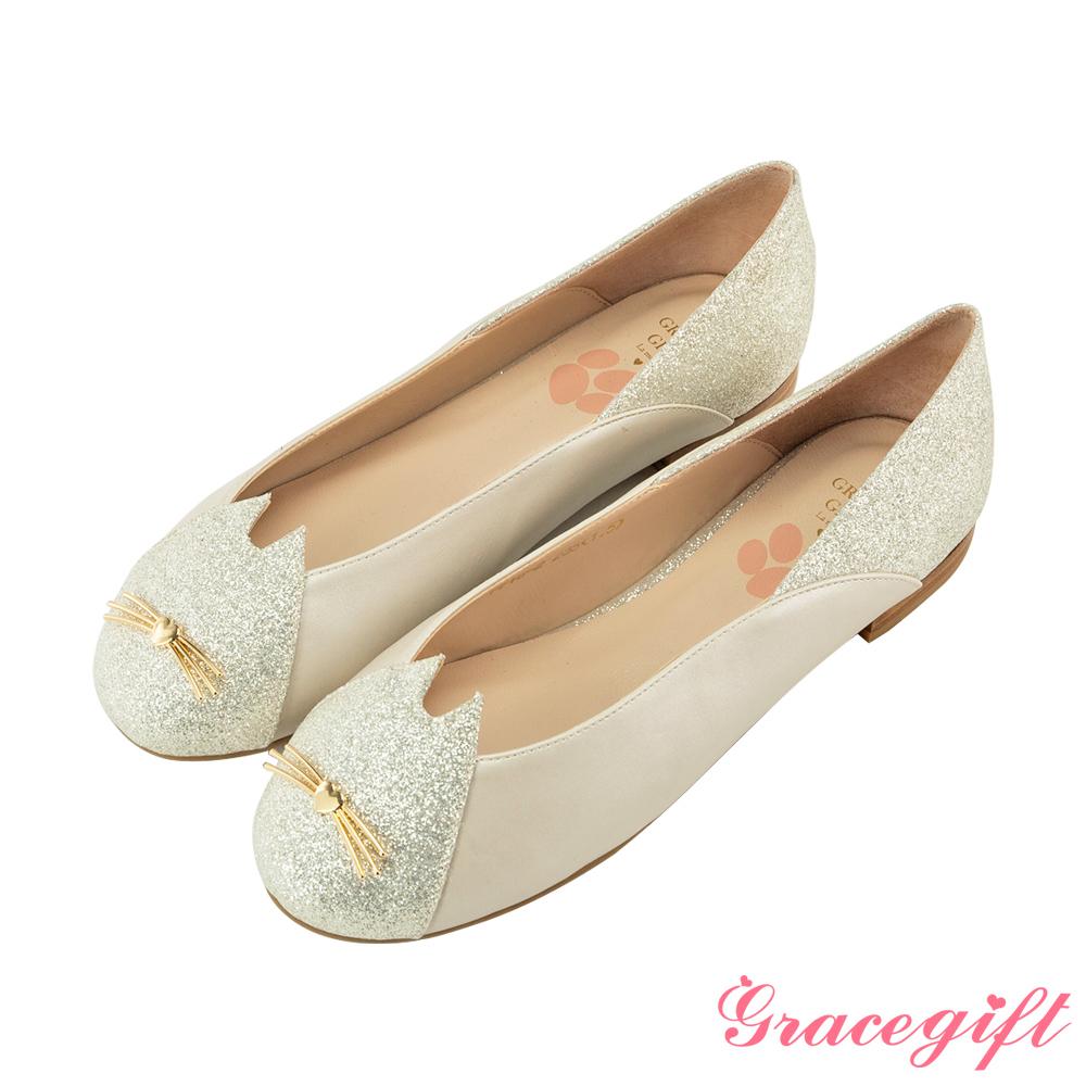 Grace gift-貓咪造型釦金蔥娃娃平底鞋 白銀