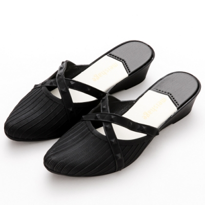 River-Moon防水鞋-歐美交叉鉚釘尖頭穆勒楔型鞋-黑