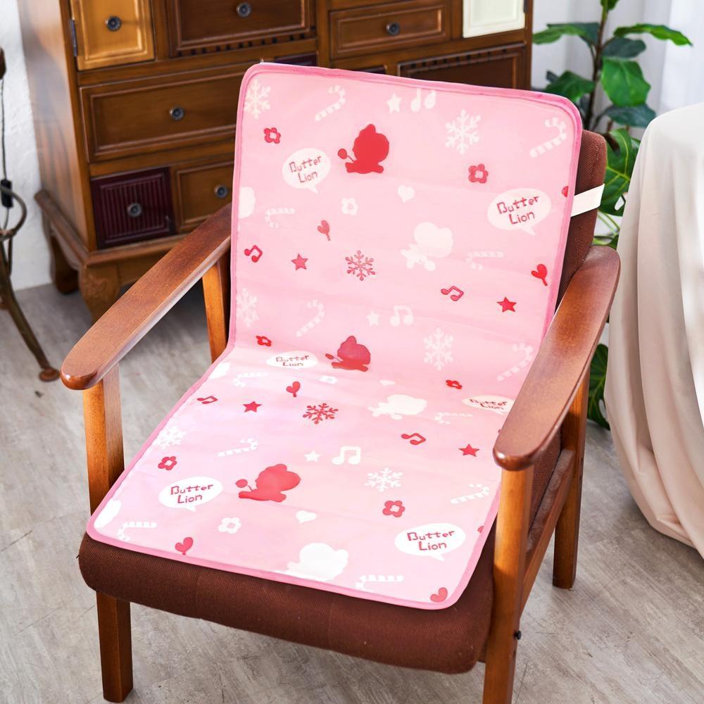 奶油獅 雪花樂園-長效型降6度涼感冰砂冰涼墊/辦公L型坐墊80x45cm-粉色(二入)