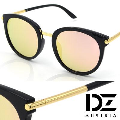 DZ 風尚圓柱 抗UV 防曬偏光 太陽眼鏡墨鏡(黑框金粉膜)